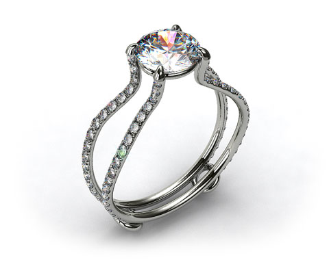 18k White Gold ZE122 by Danhov Designer Engagement Ring